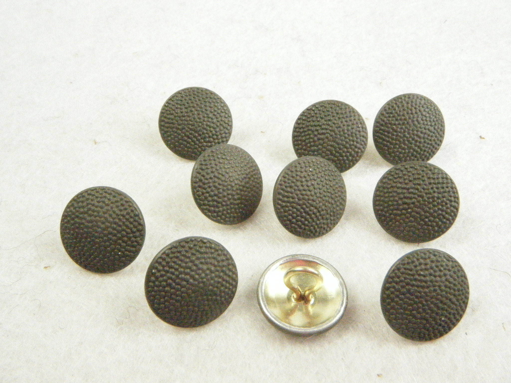 German WWII Pebble Grain cap Buttons field grey X10